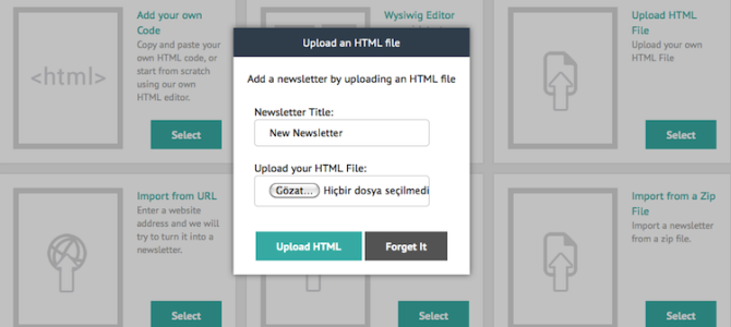 Design newsletters via file upload